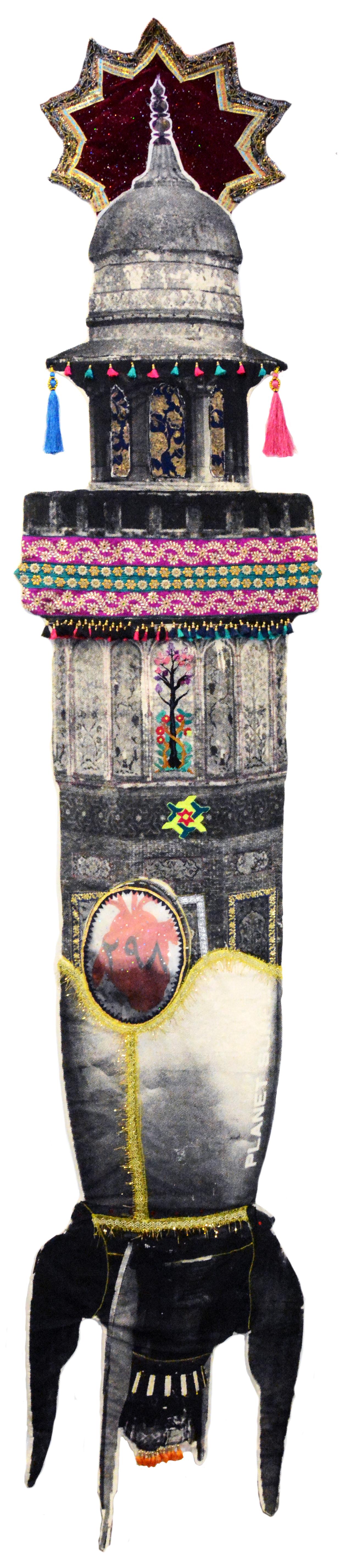 Grace 298 رحمن ۲۹۸ by Zulfikar Ali Bhutto. Screen print on muslin, chiffon and raw silk, inkjet print on silk, various trimming, embroidery. 2020, 148 x 28 in.