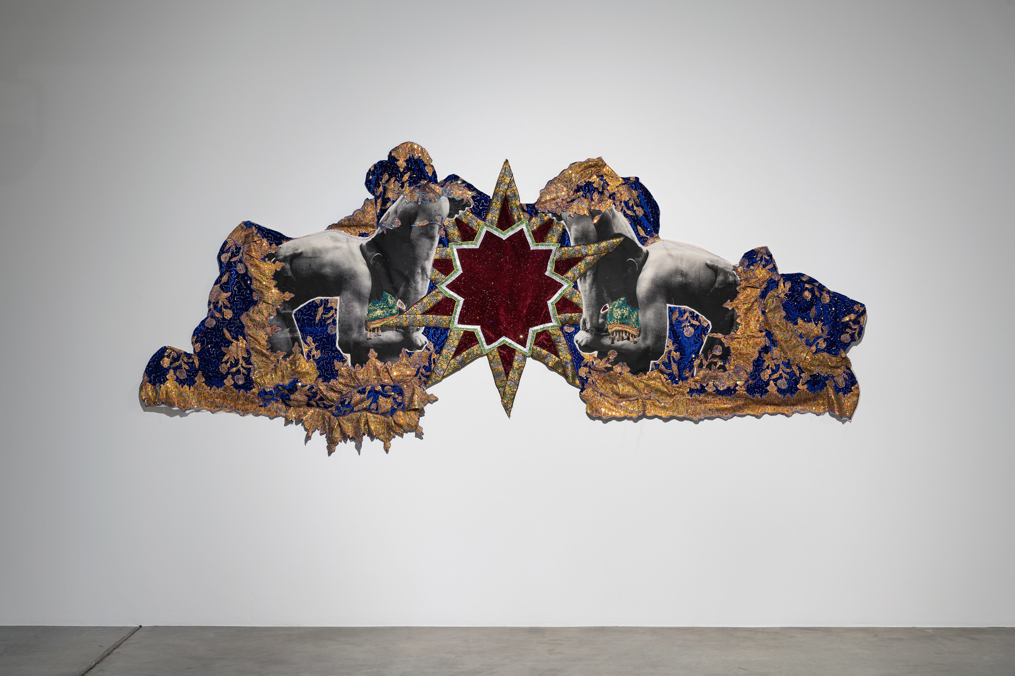 Modern Attack جدید حملہ by Zulfikar Ali Bhutto. Screen print on muslin, red and blue velvet fabric, green imitation silk with various trimming and tassels, 2020, 120 x 60 inches